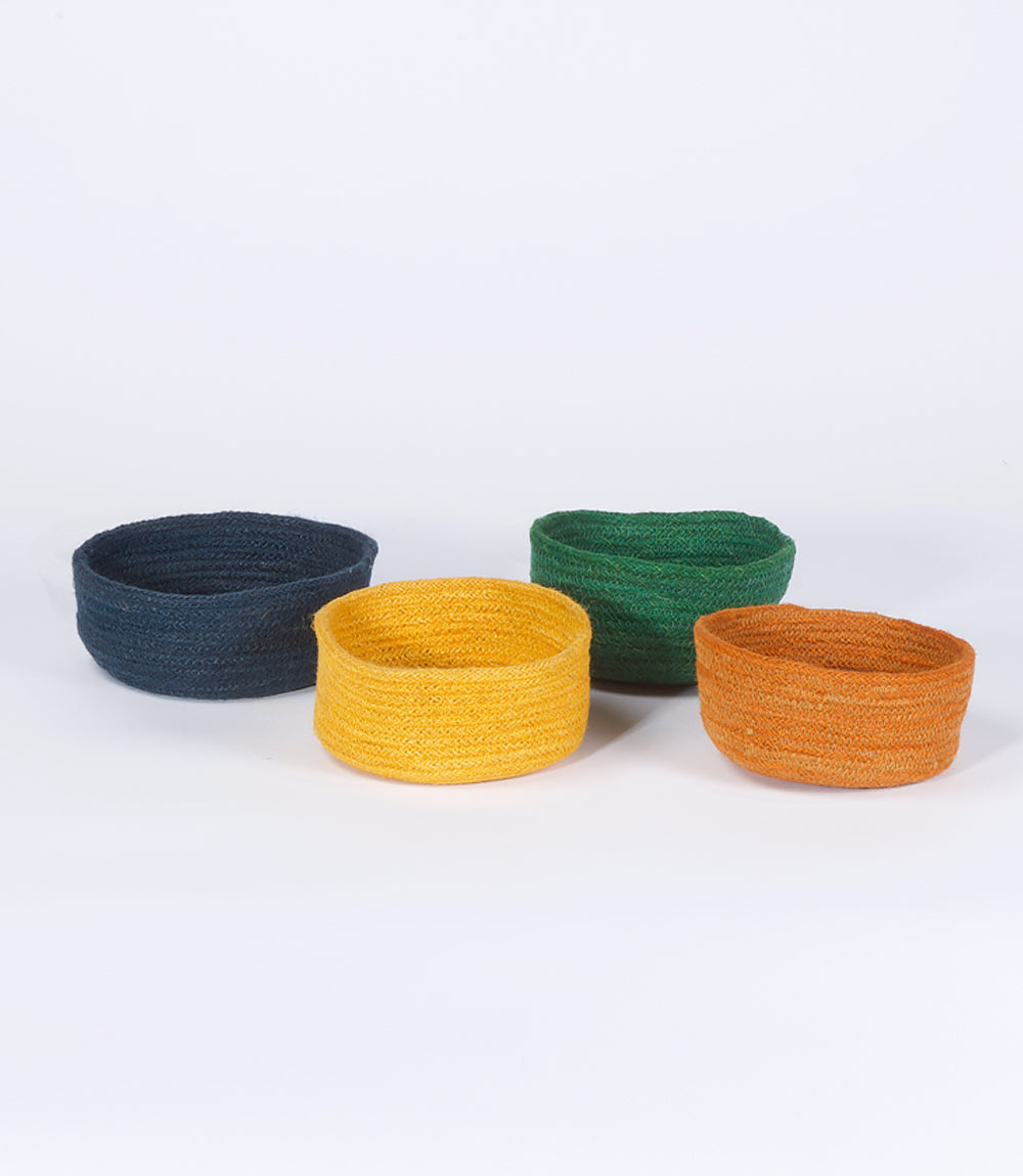 Coloured Trinket Bowl, Jute, Assorted Colours, Set of 4