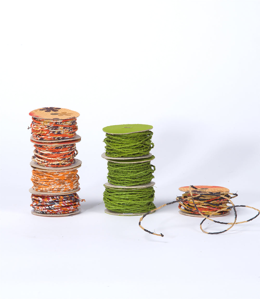 Crafters Upcycled Saree Wrapped Wire - Paper Reel, Light Green, 10m