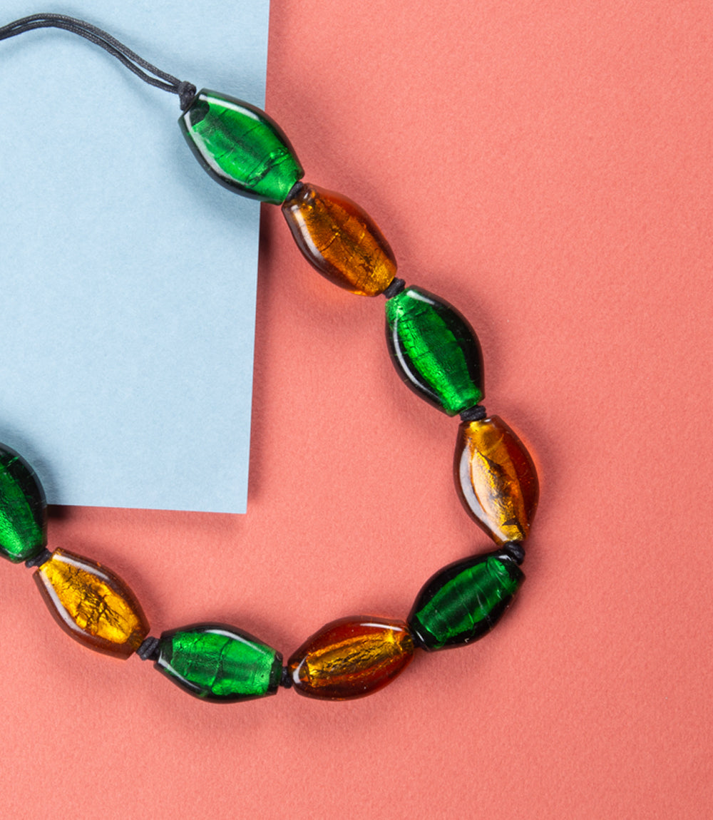 Green & Gold Foil Glass Necklace