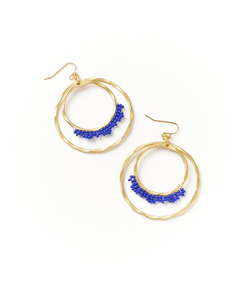 Kalapriya Earrings - Navy Hoops