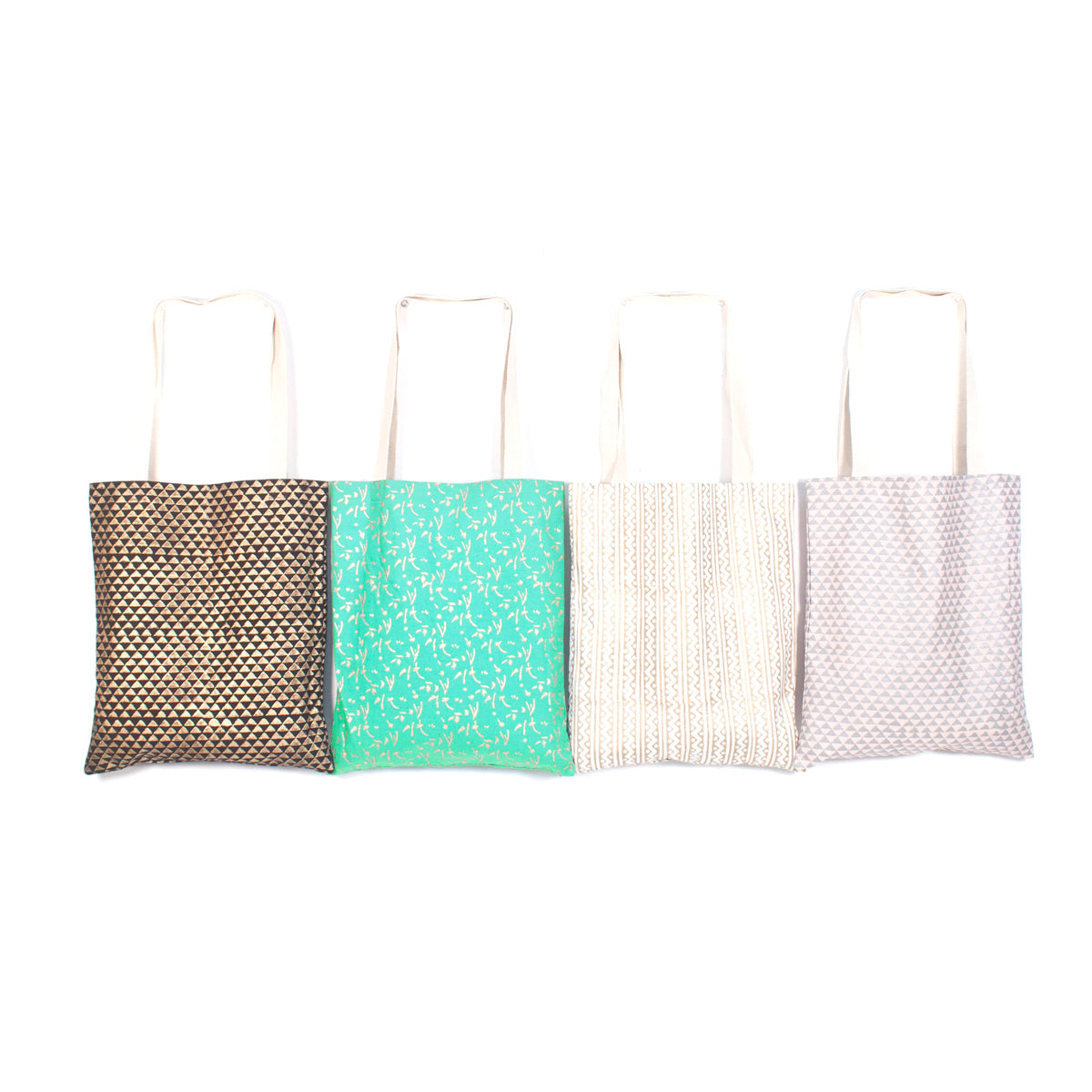 Metallic Block Print Shoppers - Pack of 4, Assorted