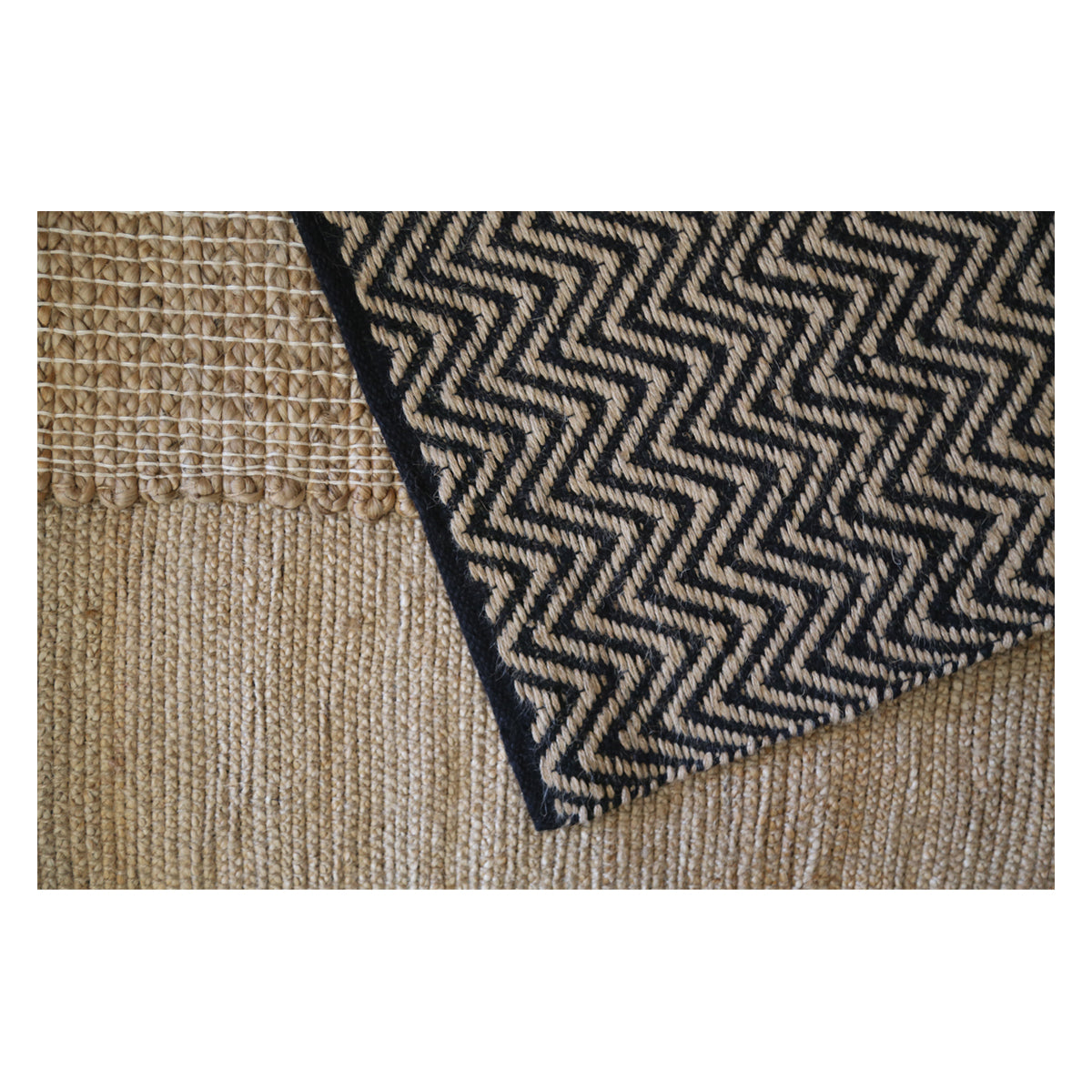 Jute Entry Mat, Zig Zag Natural and Black, 60x90cm