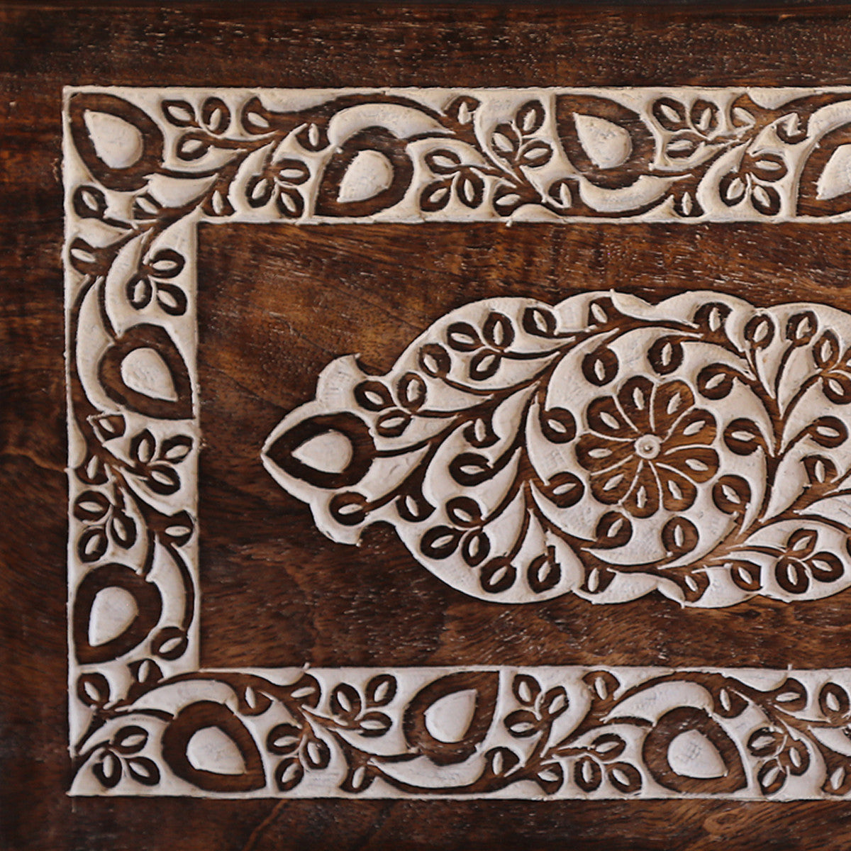 Medium Carved Floral Mango Wood Tray