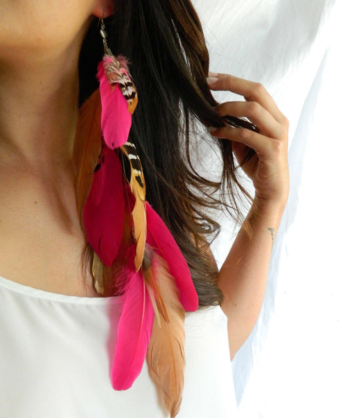 Pink and Gold Tribal Earring