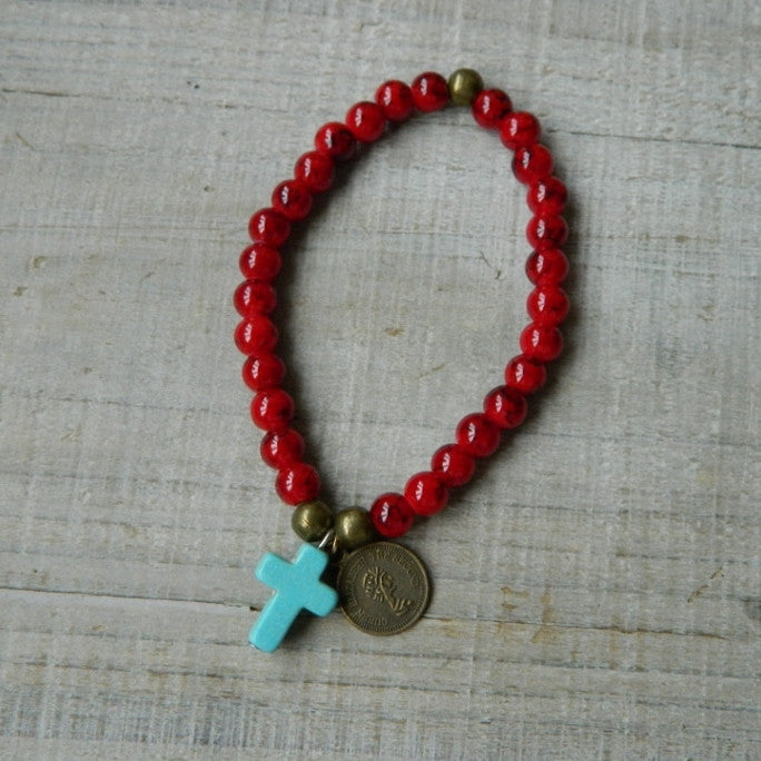 Rustic Red Collection: Cross Bracelet