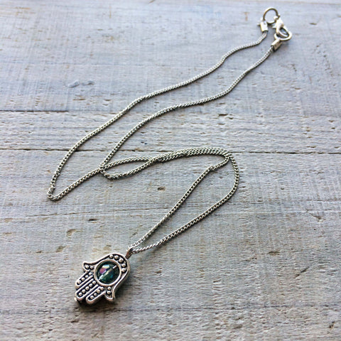Crystal Hamsa Necklace (Vertical)
