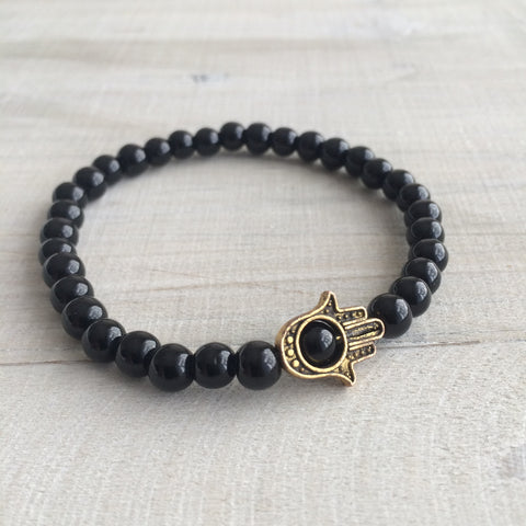 Black Hamsa Bracelet FOR HIM