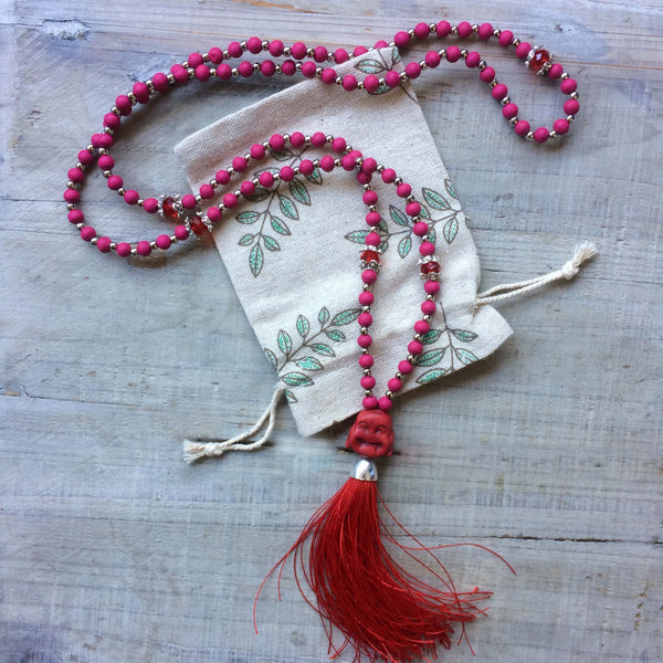 Happy Buddha Mala Beads: Lava