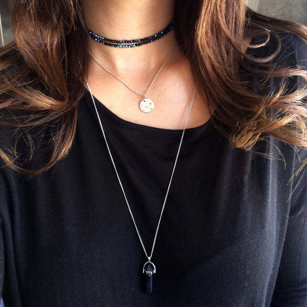 Blue Goldstone Crystal Necklace