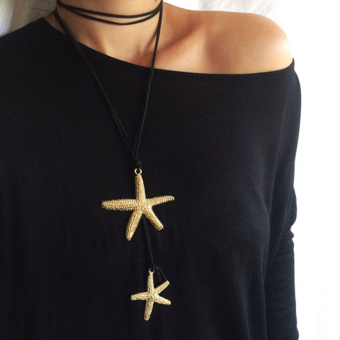 Gold Starfish Necklace Choker