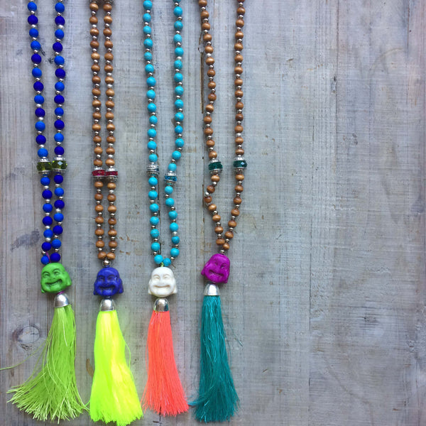 Happy Buddha Mala Beads: Turquoise