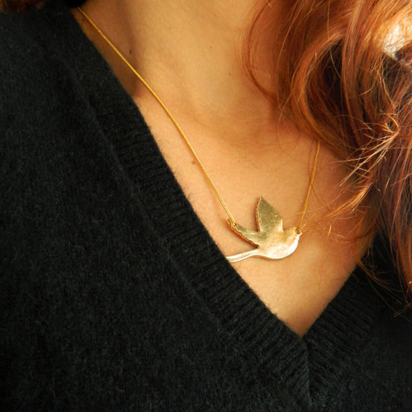 Gold Flying Bird Necklace