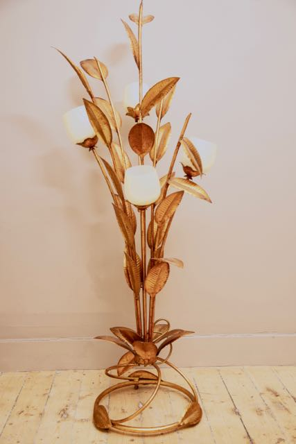 Floor standing gold palm light circa 1970  attributed to Hans Kogl.