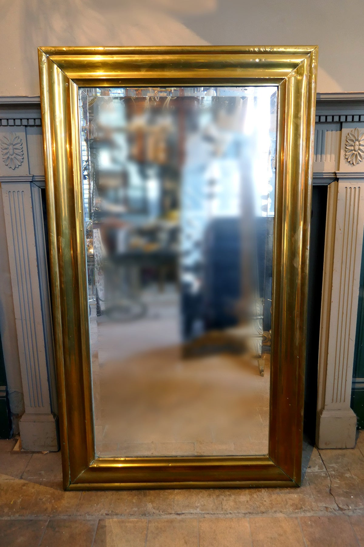 X Large French Brass Bistro Mirror circa 1900