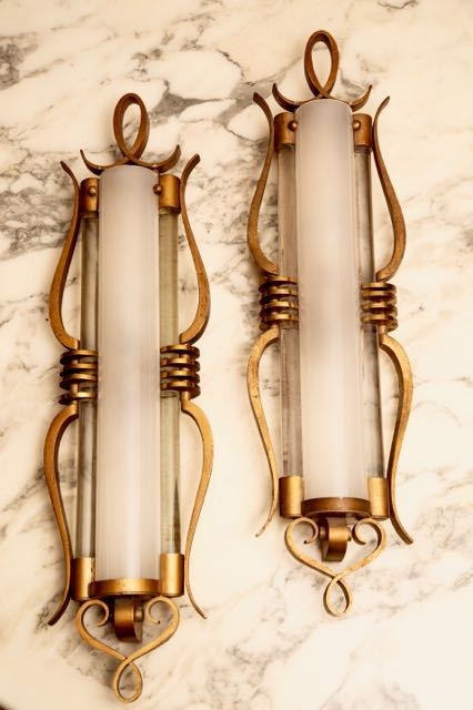 Large pair of impressive French Art Deco wall light