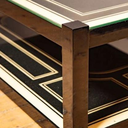 Stunning Maison Jansen black and cream lacquer coffee table.