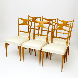 Set of 6 fine quality Italian mid century fruitwood chairs.