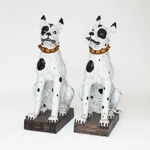 Decorative pair of life size Majolica hounds.