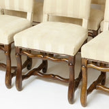 Set of 8 french ' Os de Mouton ' high back oak dinning  chairs .