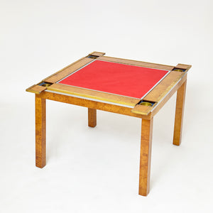 1970's  maple and brass Games table attributed to Maison Jansen .