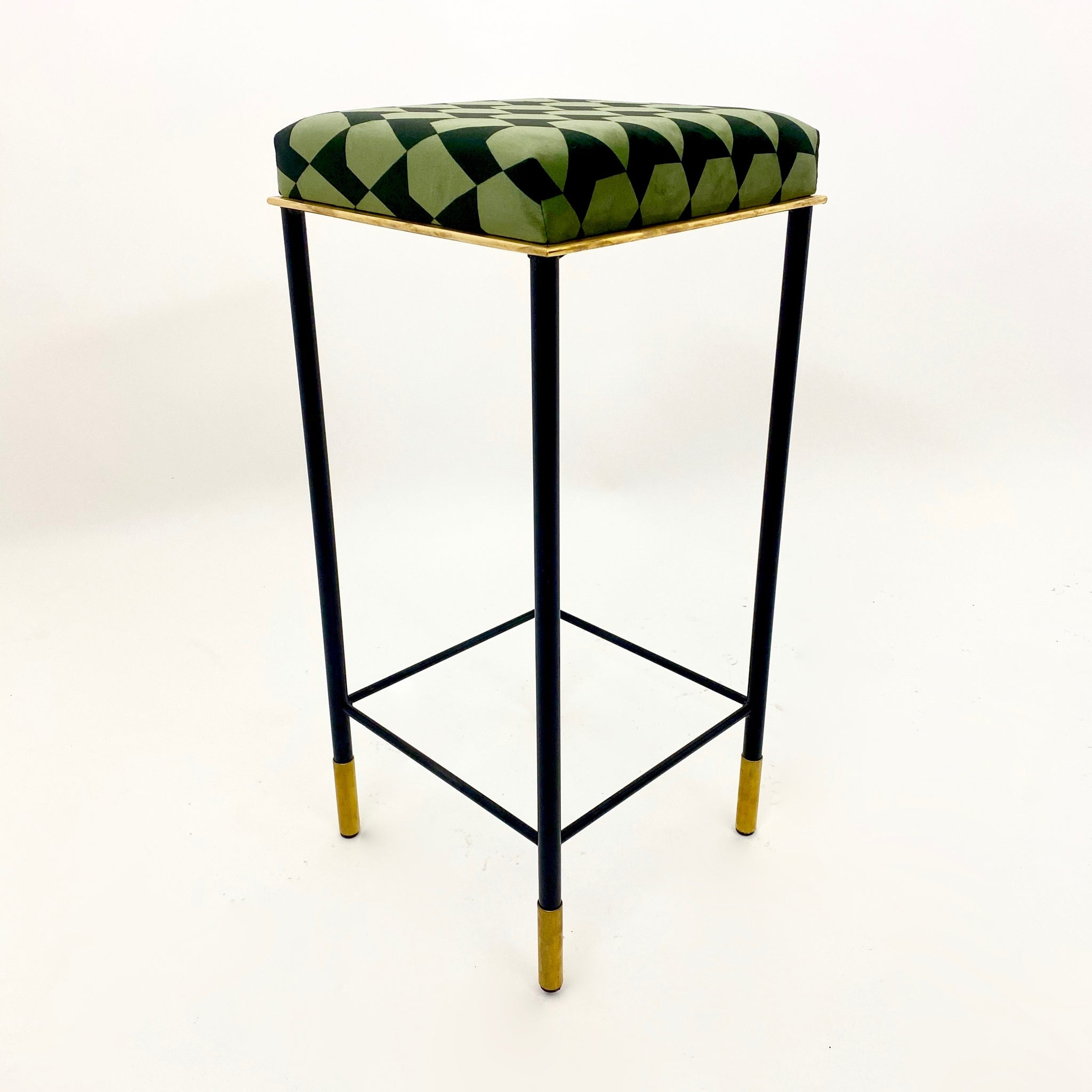 4 vintage Italian 'Harlequin' bar stools with brass details.