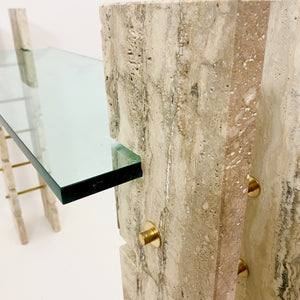 Elegant Italian Travetine marble , brass and glass console table.