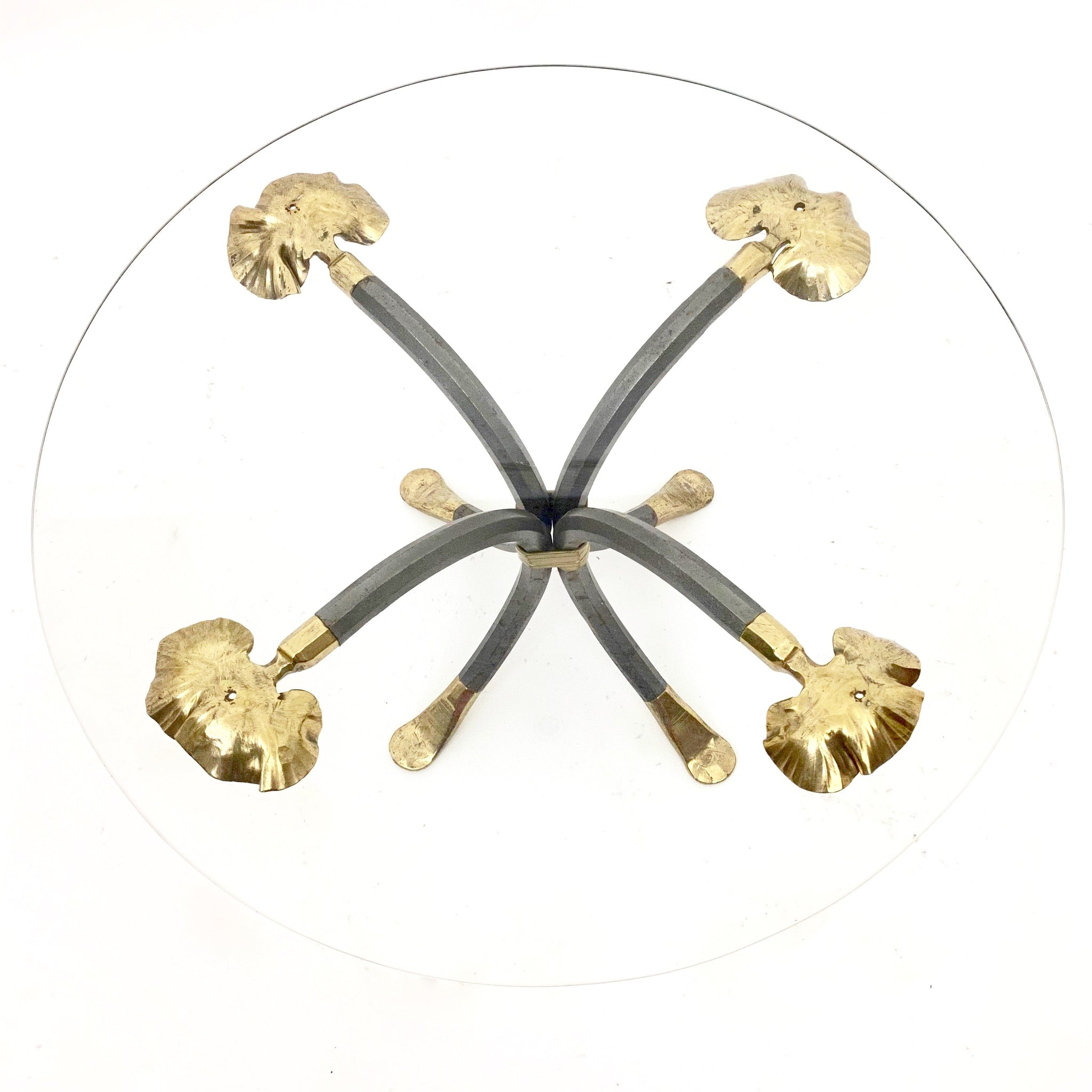 Manfred Bredohl  Coffee Table with  brass Ginko leaf details.