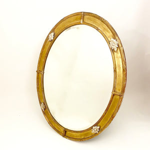 Large 19th century french oval gilt mirror with bevelled plate.