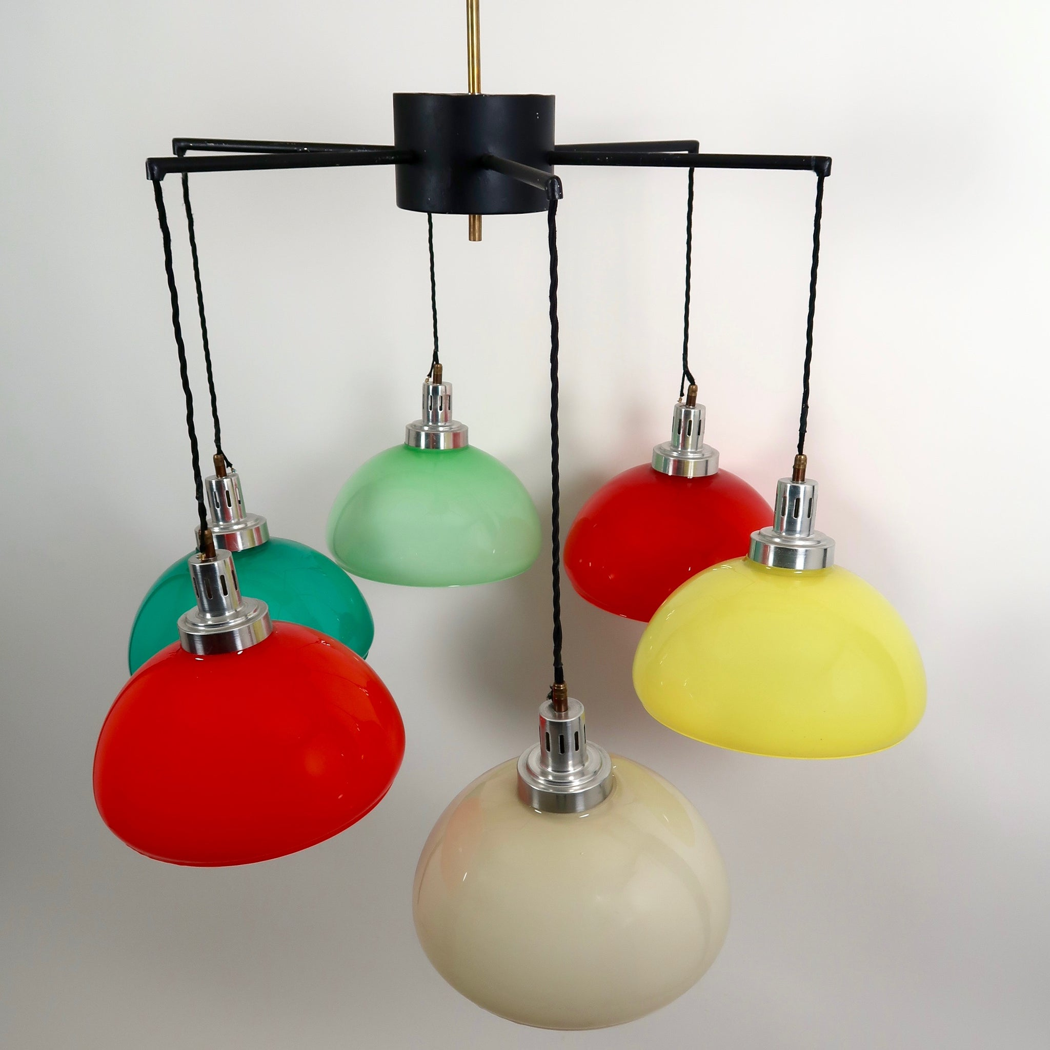 Spectacular Italian 1950's chandelier with 6 coloured glass shades .