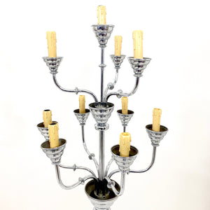 Pair of large 1920's chrome plated candelabra by H. Devis Brussels.