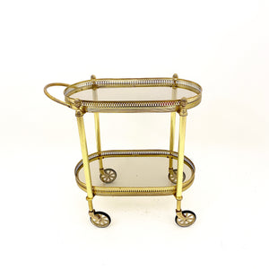 Fine example of a French brass drinks trolley circa 1950 .