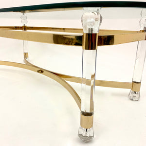Stylish 1970 's perspex and brass coffee table with a bevelled glass top.