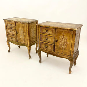 Pair of very decorative gilt Italian Florentine bedside cabinets .