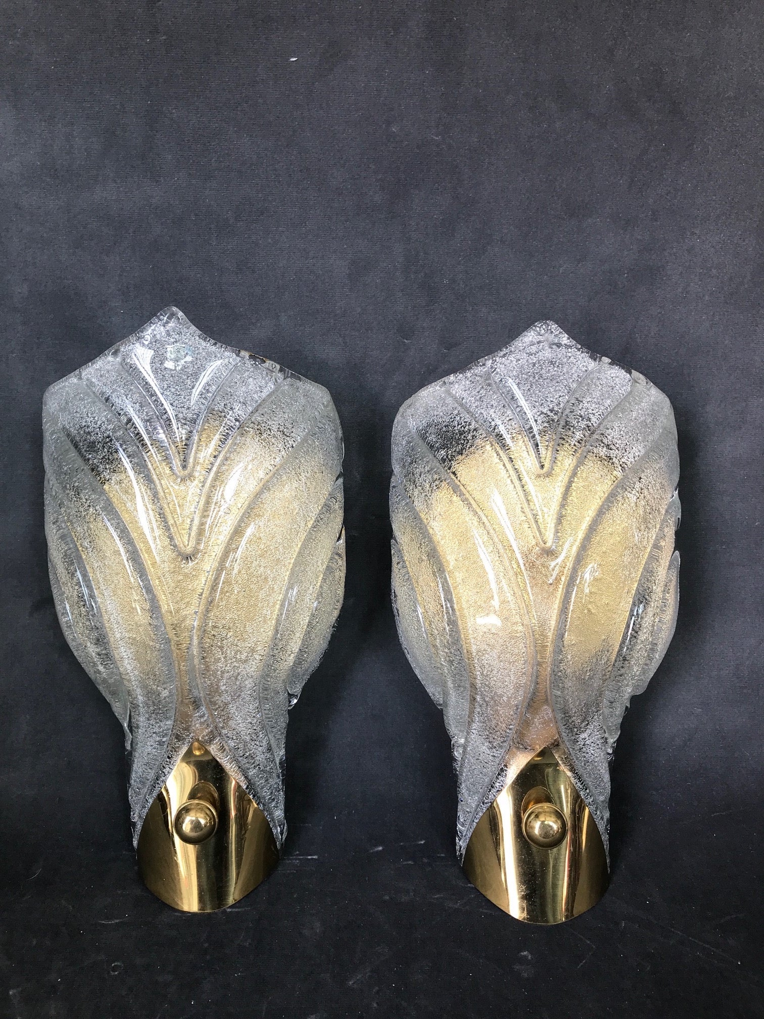 Pair of 1970's Murano Glass Wall Lights in Art Deco Style .