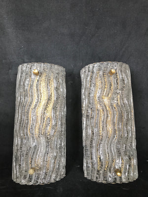 Pair of Murano  Glass Wall Lights circa 1970 .