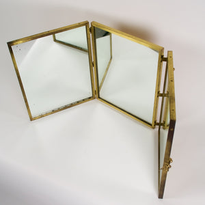 Unusual french vintage brass french triptych dressing mirror .