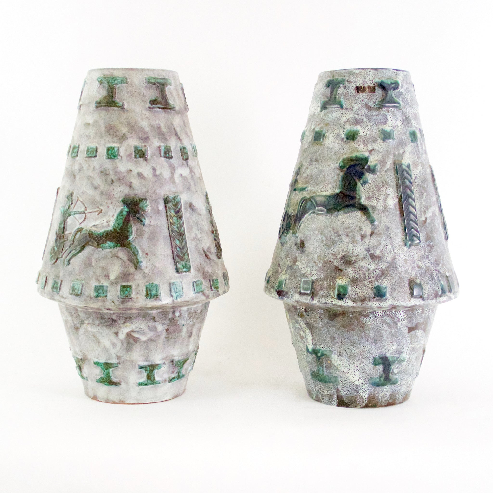 Large Pair of unusual signed  West German pottery vase .