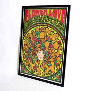 "Original framed Psychedelic poster ""Flower Love "" circa 1967."