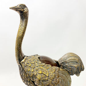 Unusual Italian vintage white metal Ostrich desk ornament.