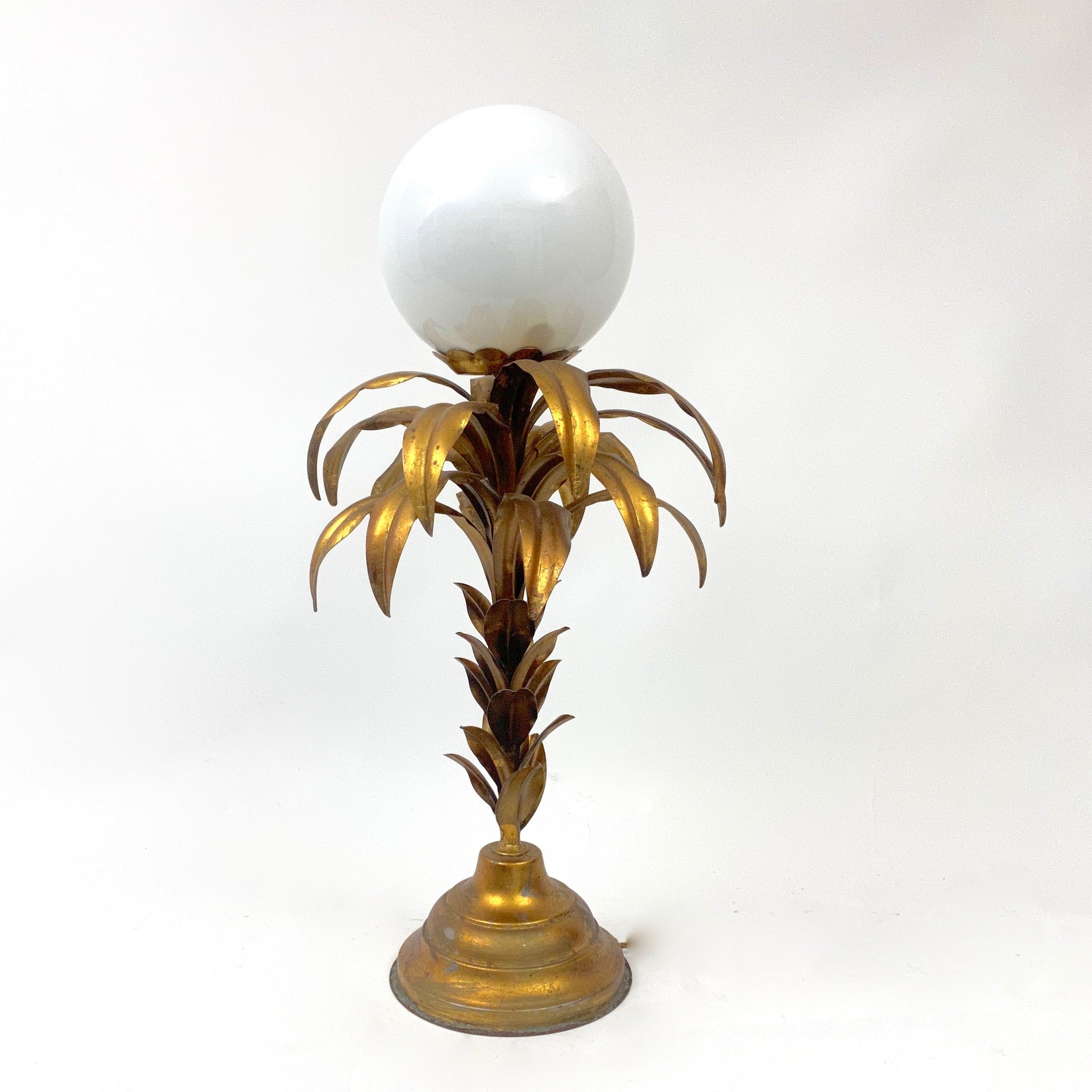 Hans Koghl  gilt palm tree table lamp circa 1970 .