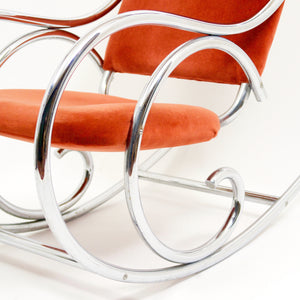 Vintage Thonet style chrome rocking chair with velvet back and seat.