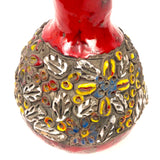 Striking Italian ceramic vase with bright red glaze.