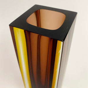 Large Murano Seguso  vase with amber and ochre cased body.