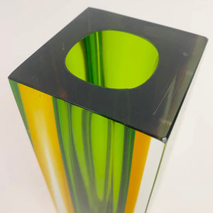 Medium Murano Seguso  vase with green and ochre cased body .