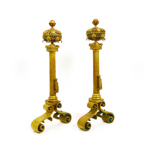 Decorative pair of brass, arts and crafts andirons circa 1900.