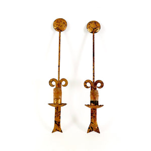 Pair of unusual vintage wrought metal wall lights with gilt finish.