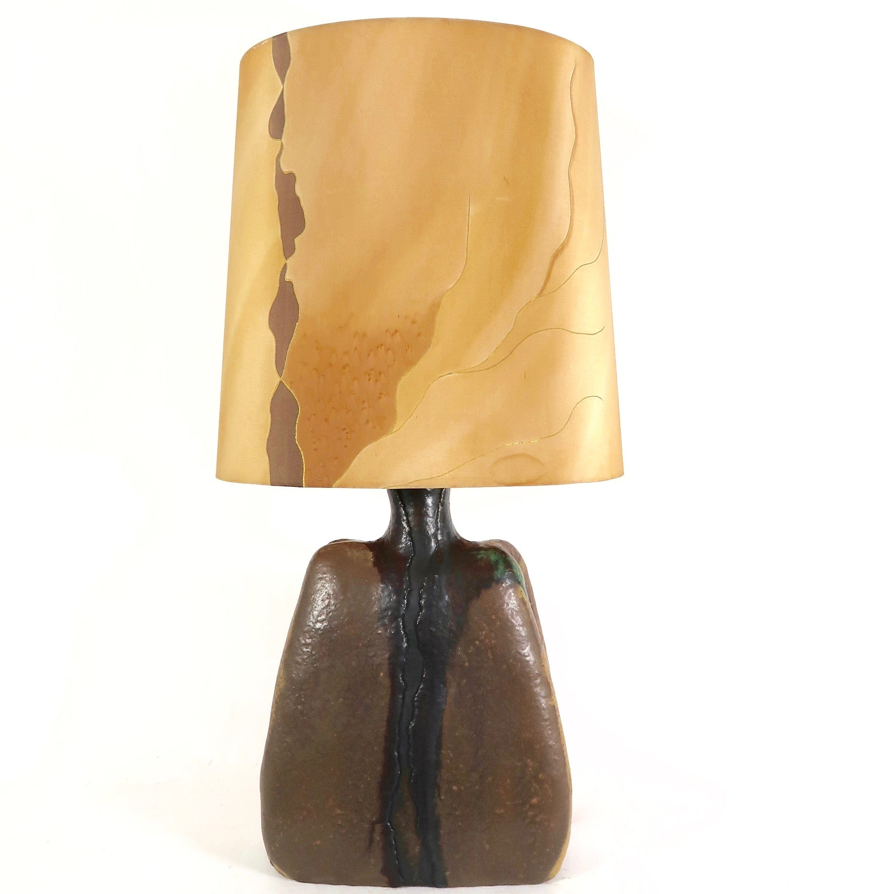 Striking sculptural ceramic table lamp with original shade  .