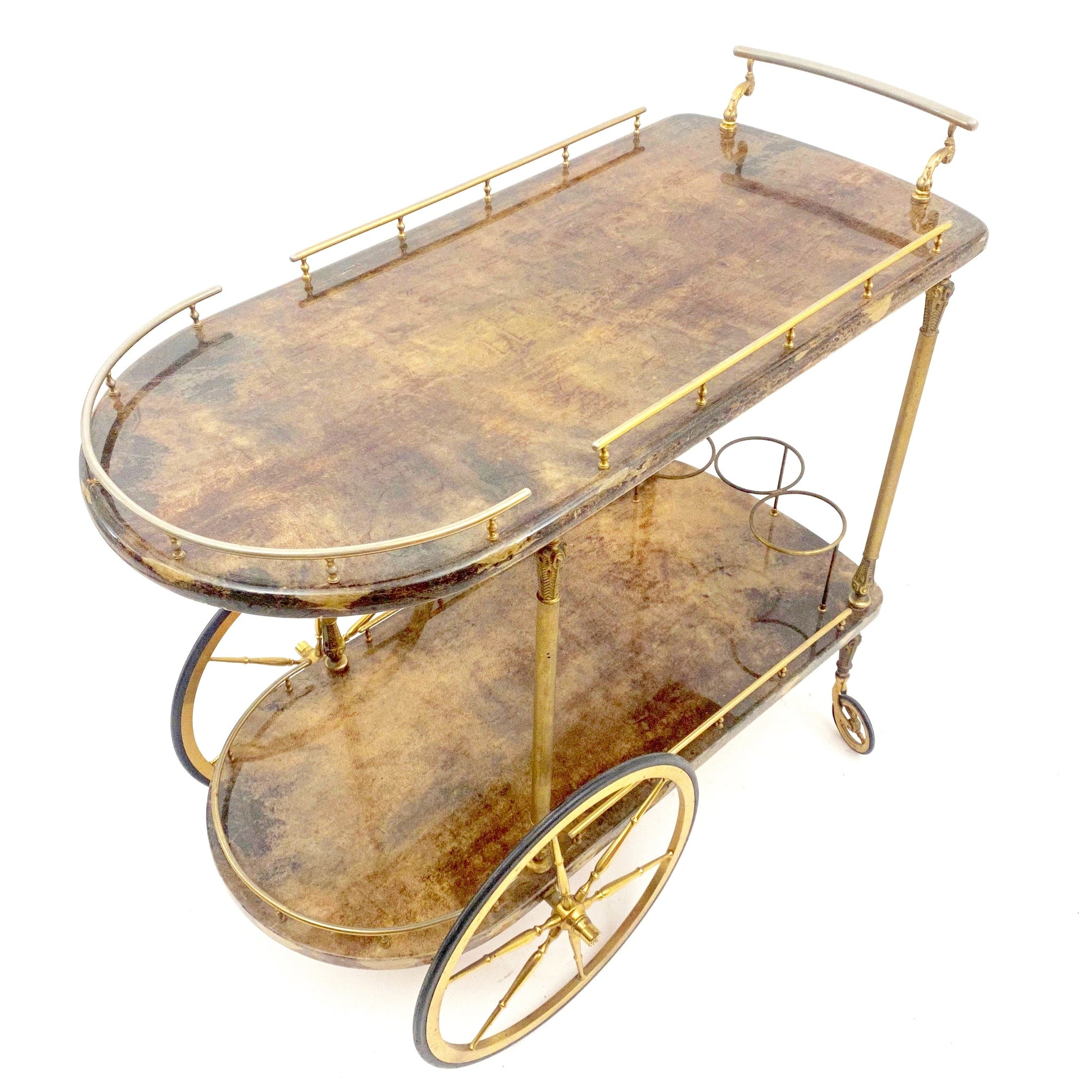 Fabulous Aldo Tura  bar trolley circa 1950 .