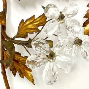 Large Italian wall light with glass flowers and gold foliage.