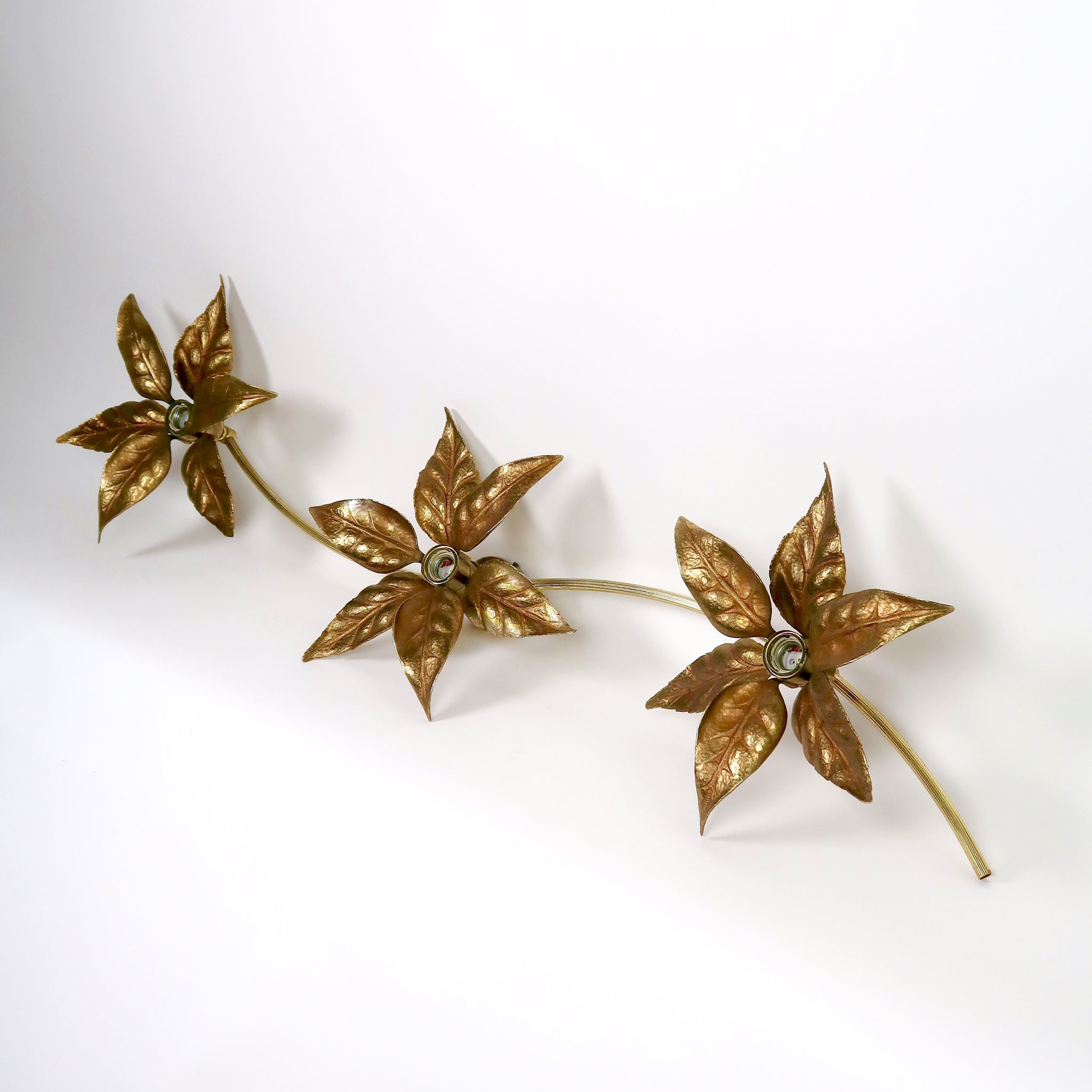 Large set of gilt metal flower wall or ceiling lights in the style of Willy Daro .